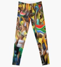 South African football fans oil paint effect,. Leggings
