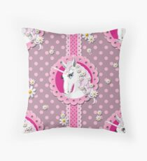 Retro Unicorns and Pink Polka Dots on a Plum Background Throw Pillow