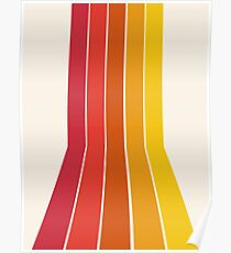 Rad - retro throwback 70s 1970s stripe beach 70's vibes minimal art by Seventy Eight Poster