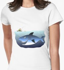 Fisherman being stalked by a great white shark Womens Fitted T-Shirt
