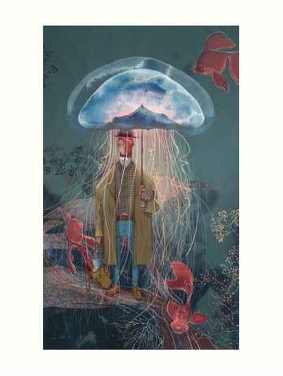 Johnny Eels - The Dapper Under Water Jellyfish Umbrella Man by Kate Chesterton