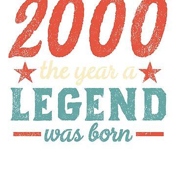 18th Birthday Year 2000 T Shirt The Year A Legend Was Born by MichaelAndrewLo