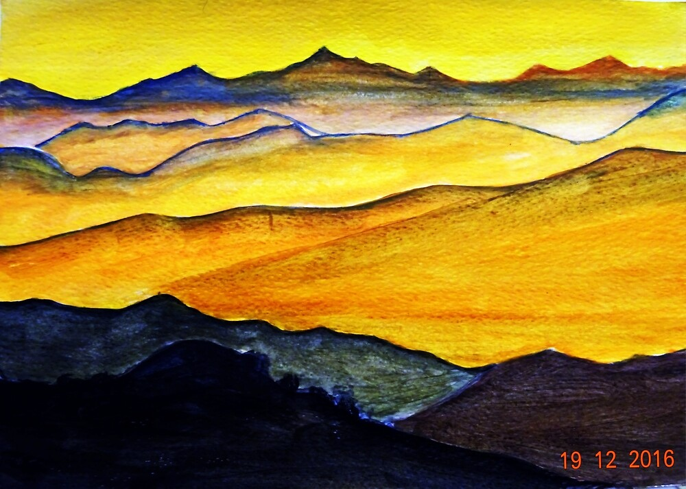 The mountain under sunset. by Chantal MARSAULT
