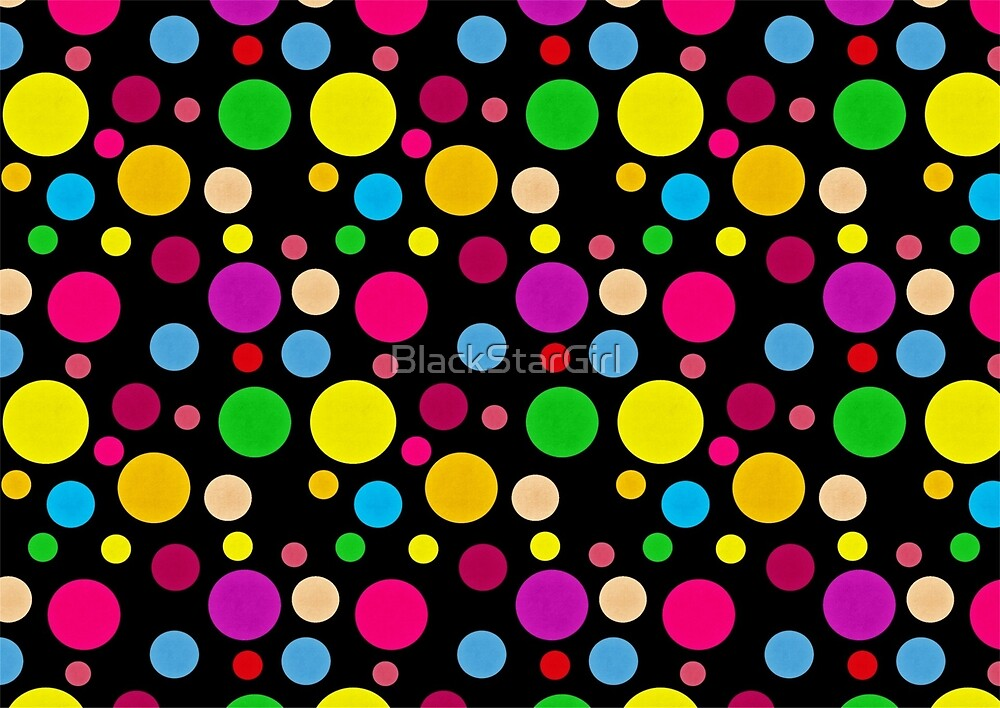 Colorful Spots On Black by BlackStarGirl