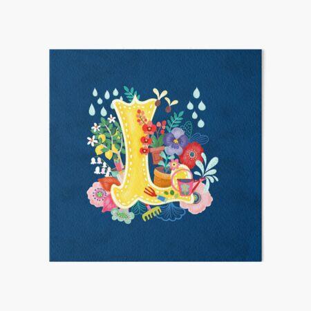 Spring Floral Initial Letter-L illustration Art Board Print