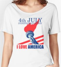 I Love America Independence Day T Shirt 4th of July Women's Relaxed Fit T-Shirt