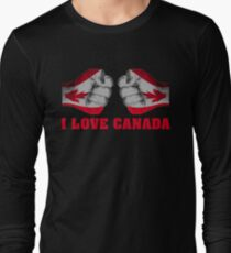 I Love Canada Independence Day T Shirt Canadian Heart Gifts Long Sleeve T-Shirt