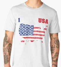 I Love USA Independence Day T Shirt 4th of July Men's Premium T-Shirt