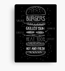 Chalk Drawn Components of Classic Cheeseburger Canvas Print