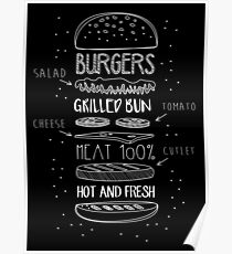 Chalk Drawn Components of Classic Cheeseburger Poster