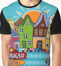 Colorful Caribbean houses  Graphic T-Shirt