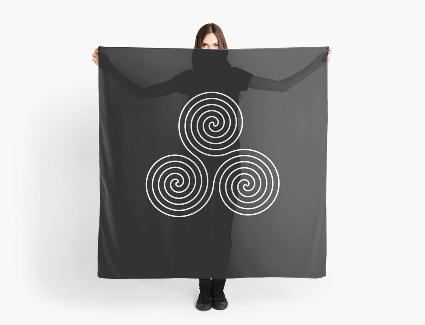Neolithic Triple Spiral Symbol Neo Pagan Triple Goddess Symbol