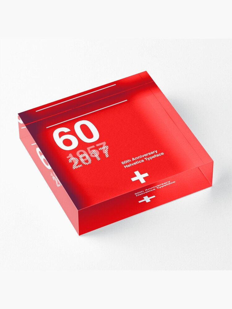 Alternate view of 60th Anniversary  Helvetica Typeface Acrylic Block