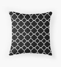 Black And White Moroccan Geometric Pattern Throw Pillow