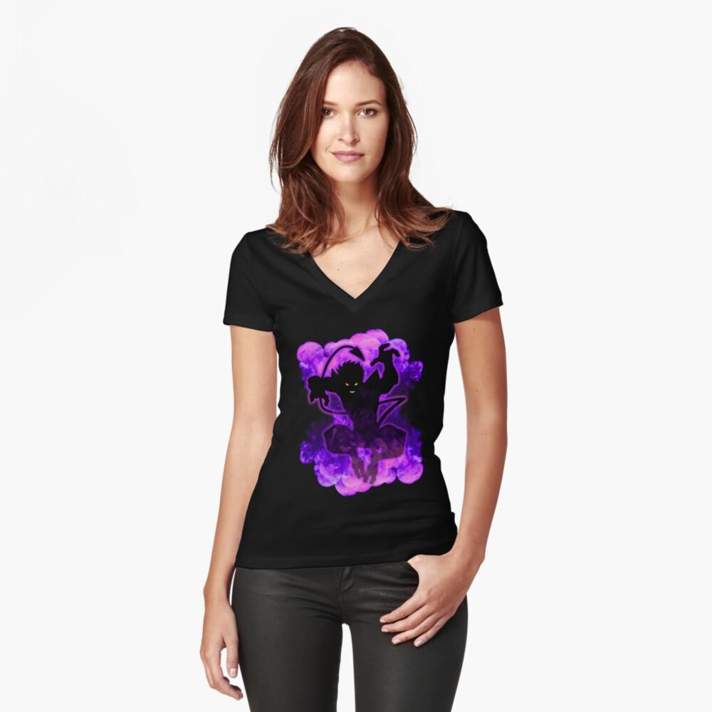 Bamf! Tailliertes T-Shirt mit V-Ausschnitt