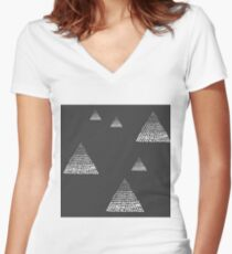 Ombré triangle dots grey/black Women's Fitted V-Neck T-Shirt