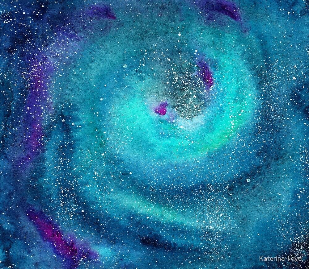 Emerald galaxy    watercolor by Katerina Izotova