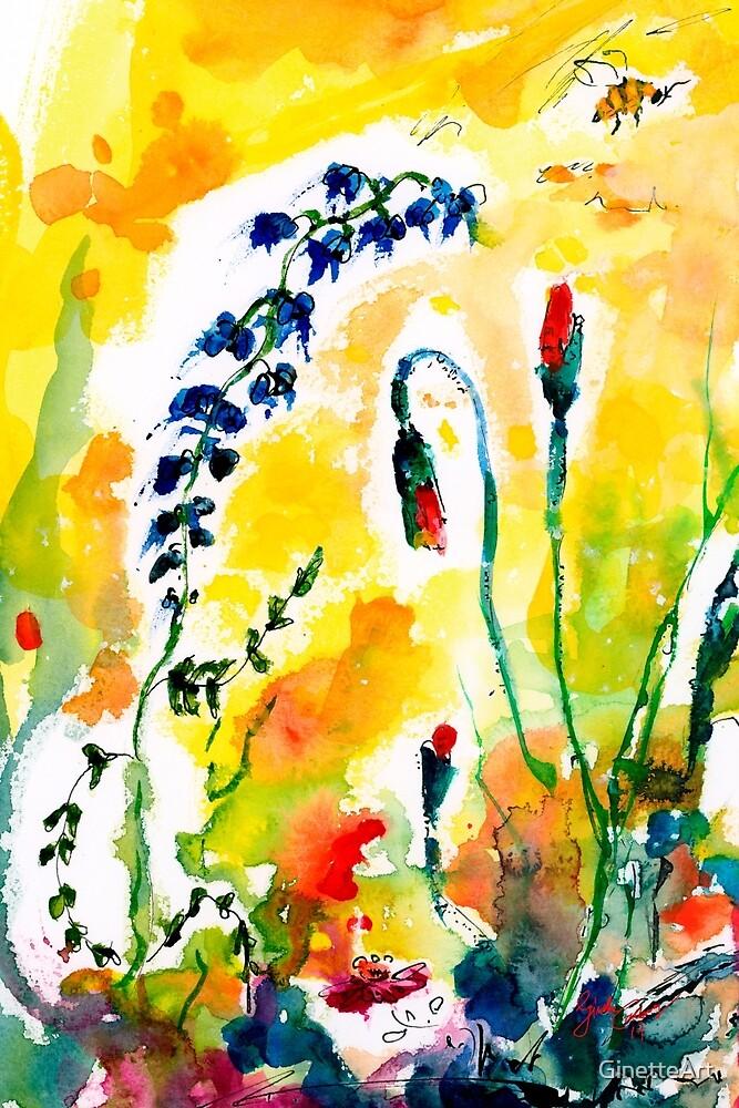 Red Poppy Buds in Wildflower Field by GinetteArt