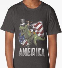 Abe Riding a Dinosaur!  Long T-Shirt