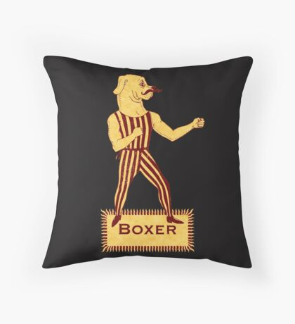 Boxer Dog Bonzo Bones Throw Pillow