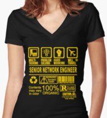 SENIOR NETWORK ENGINEER WILL TRAVEL Women's Fitted V-Neck T-Shirt