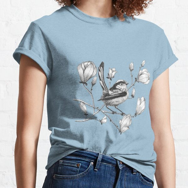 long tailed tit on magnolia tree Classic T-Shirt
