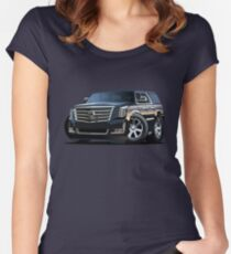 Cartoon luxury SUV Women's Fitted Scoop T-Shirt