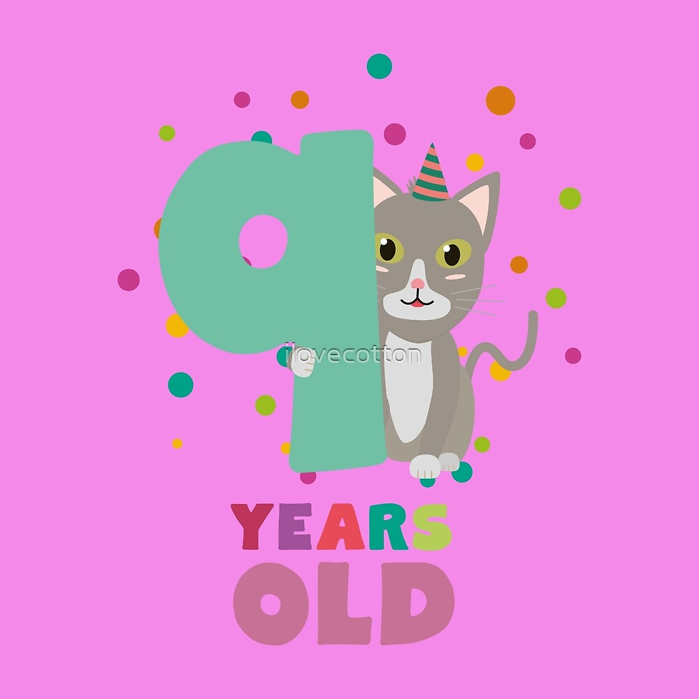 Nine Years 9th Birthday Party Cat Rsfzu by ilovecotton