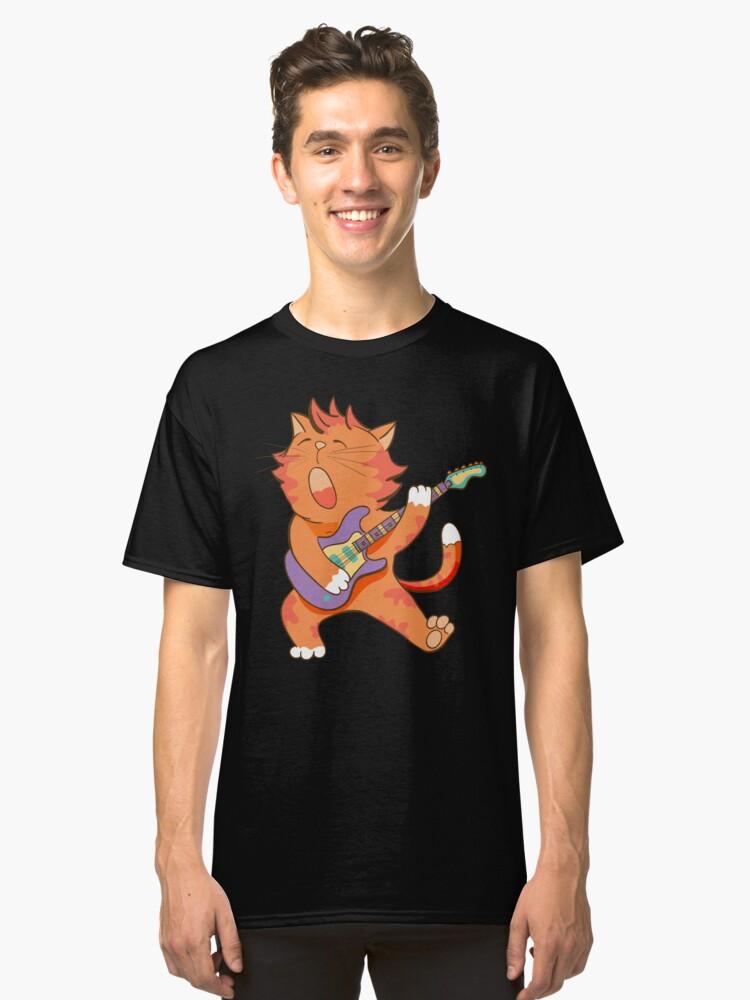 Dabbing Cat Kitten Dab Serenade Funny Guitar Classic T-Shirt Front