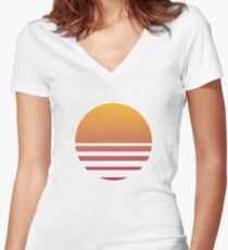 Outrun Retro Sun - Clean Women's Fitted V-Neck T-Shirt