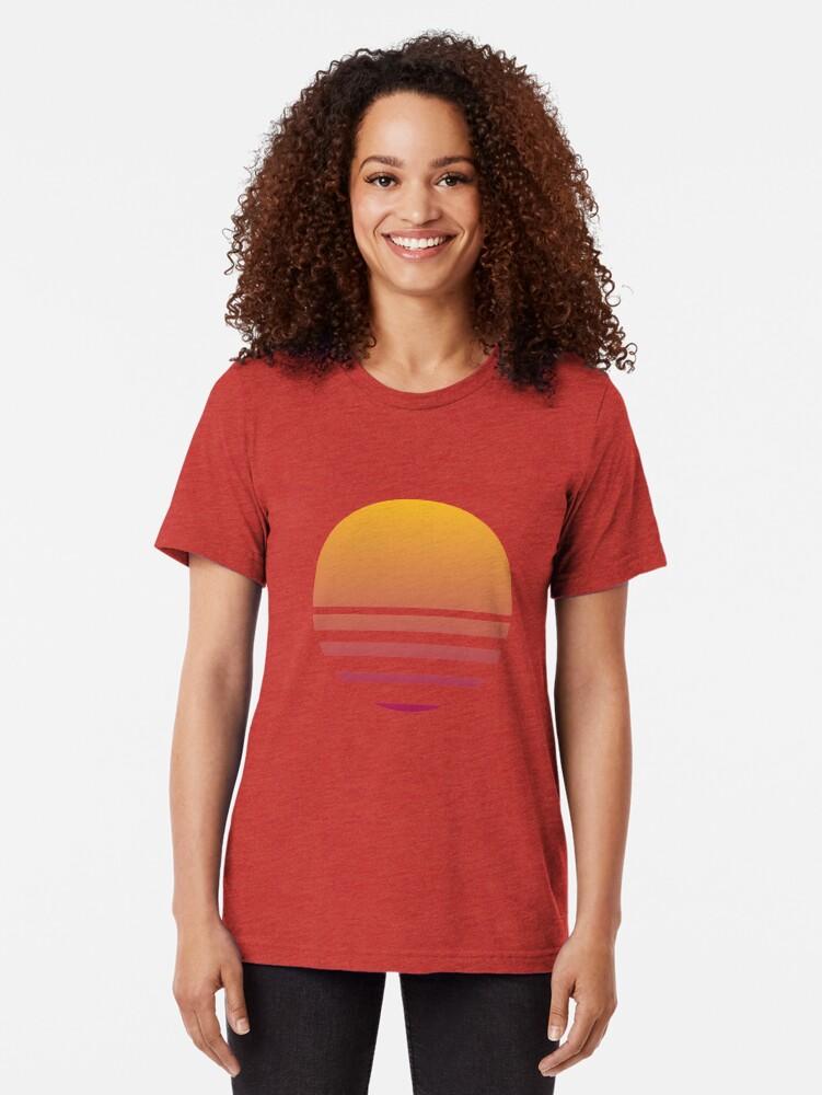 Alternate view of Outrun Retro Sun - Clean Tri-blend T-Shirt