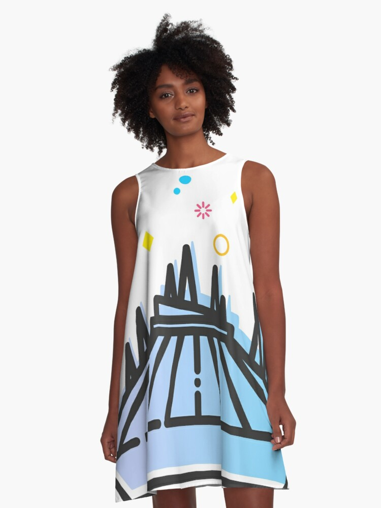 Space Mountain Ride Artwork A-Line Dress Front