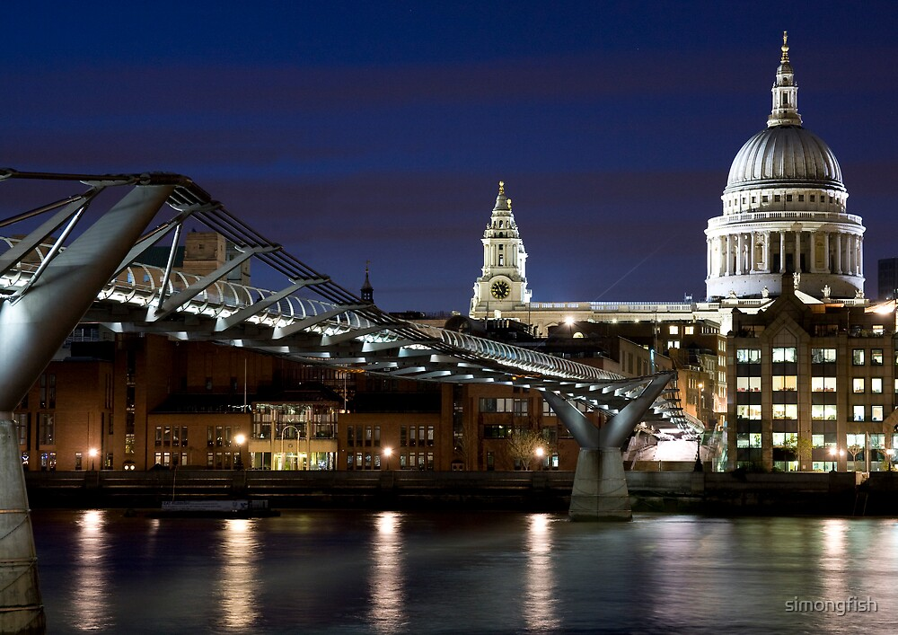 St Pauls Cathedral and Millenium bridge at night by simongfish