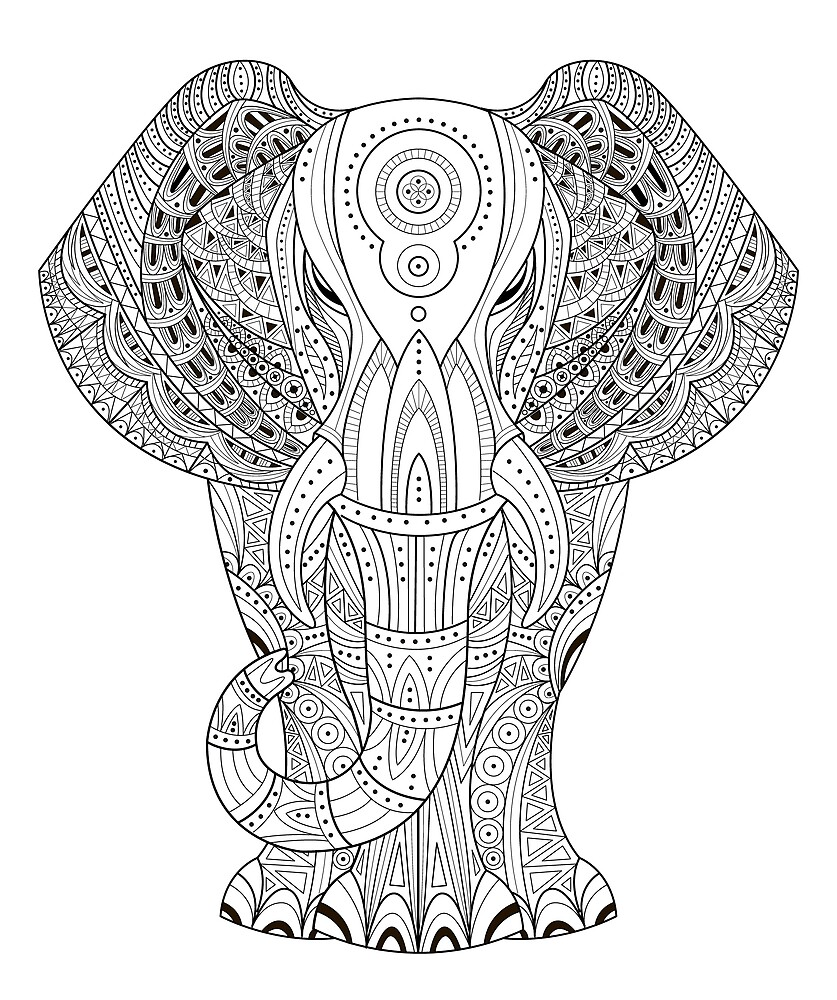 Elephant illustration in Zentangle style by topvectors