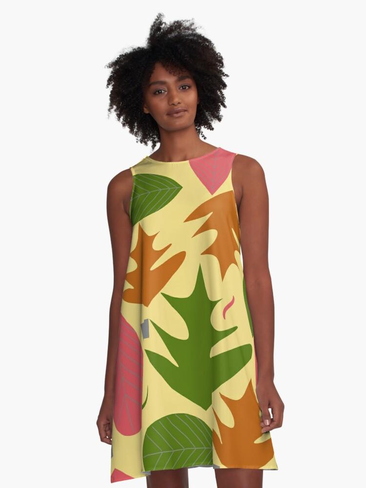 Leaf shapes A-Line Dress Front