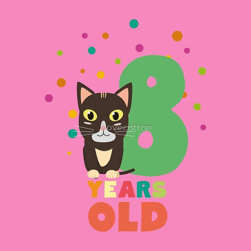 Eight Years 8th Birthday Party Cat R14m7 by ilovecotton