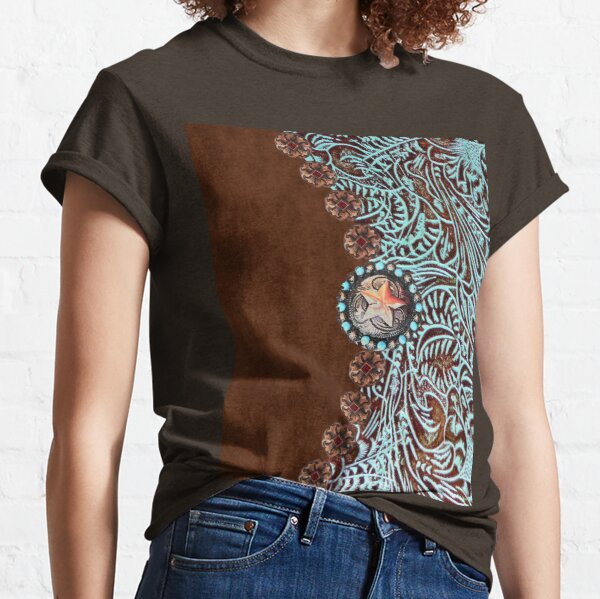 Primitive cowboy cowgirl western country brown turquoise leather  Classic T-Shirt