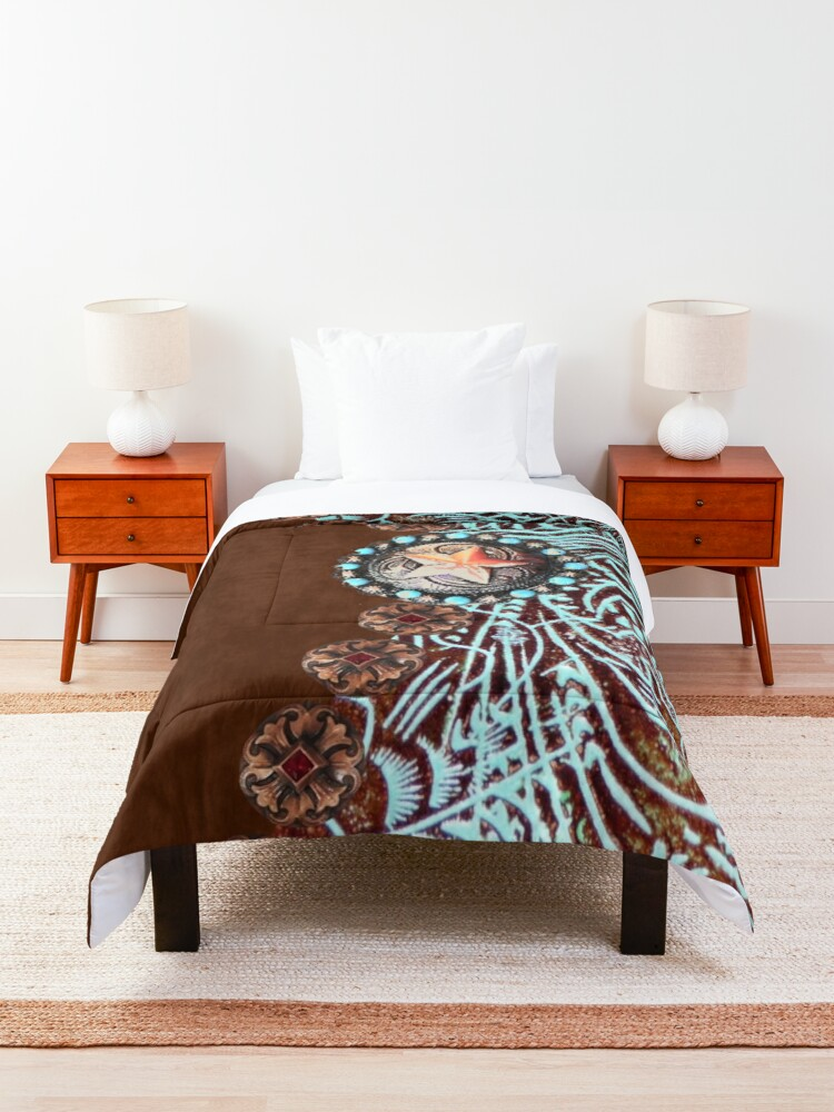 Alternate view of Primitive cowboy cowgirl western country brown turquoise  Comforter