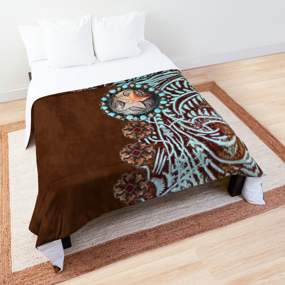 Primitive cowboy cowgirl western country brown turquoise  Comforter