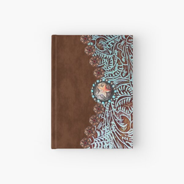 Primitive cowboy cowgirl western country brown turquoise leather  Hardcover Journal
