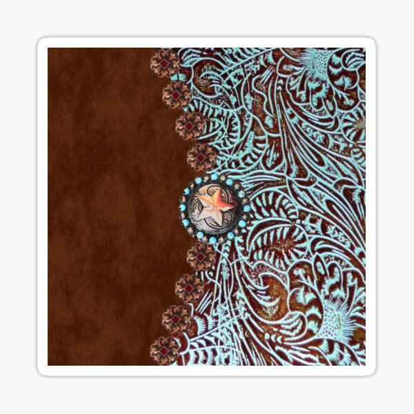 Primitive cowboy cowgirl western country brown turquoise  Sticker