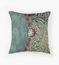 Rustic cowboy cowgirl western country green teal leather  Throw Pillow