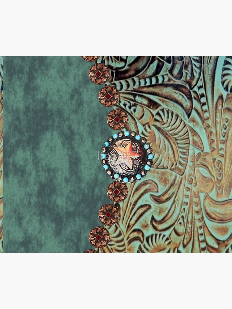 Rustic cowboy cowgirl western country green teal leather  by lfang77