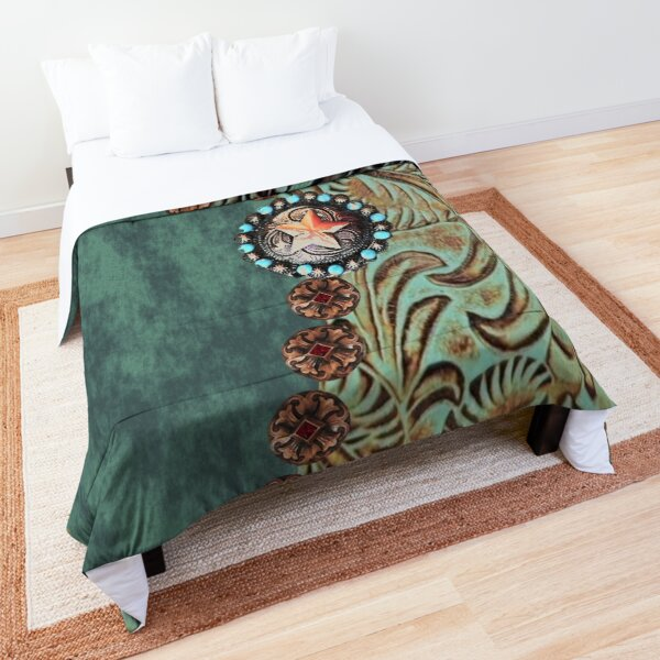 Rustic cowboy cowgirl western country green teal leather  Comforter