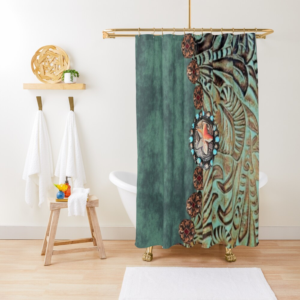 Rustic cowboy cowgirl western country green teal leather  Shower Curtain