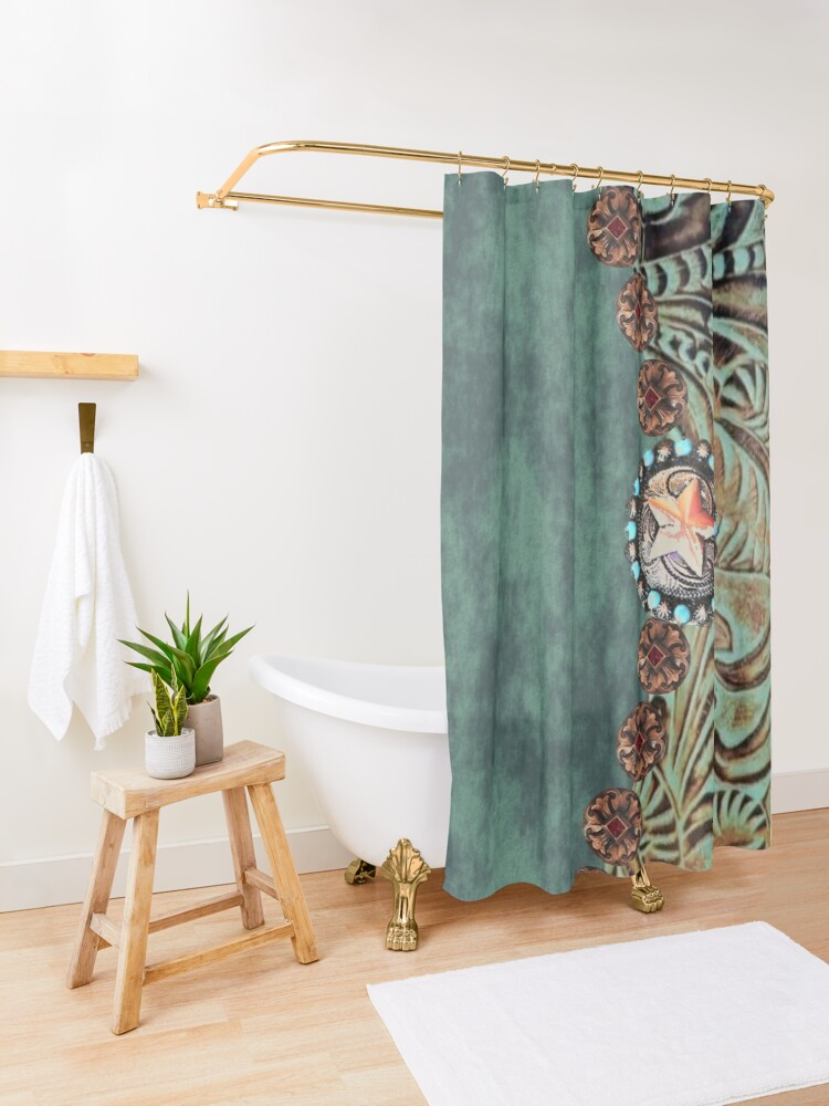 Alternate view of Rustic cowboy cowgirl western country green teal leather  Shower Curtain