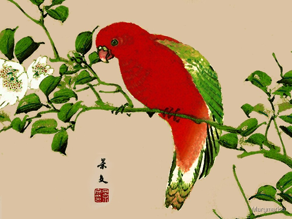 Vintage Japanese Painting of a Parrot by Marymarice