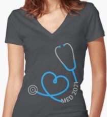 Stethoscope Class of 2021 Women's Fitted V-Neck T-Shirt
