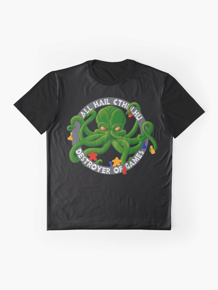 Alternate view of Cthulhu - Destroyer of Games Graphic T-Shirt