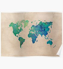 world map 95 green #worldmap #map Poster